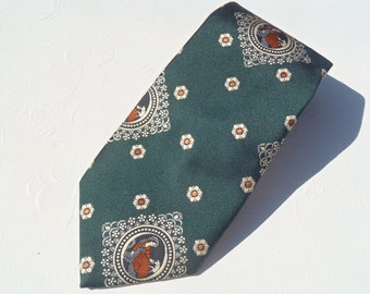Vintage 1970s Wide Green and Rust Goddess Tie