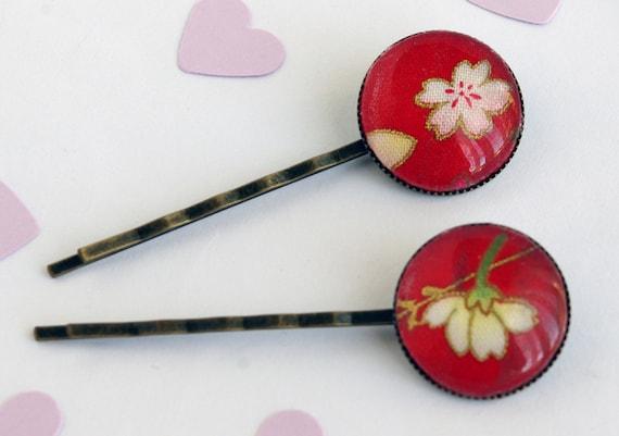 Red Bobby Pin Flower Japanese fabric Hair Pin