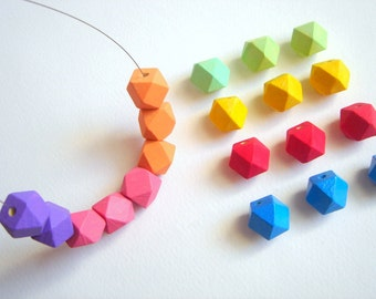 Neon Geometric  Wood Beads, 20 Hand Painted wood Beads 12mm,Do it Yourself Geometric necklace
