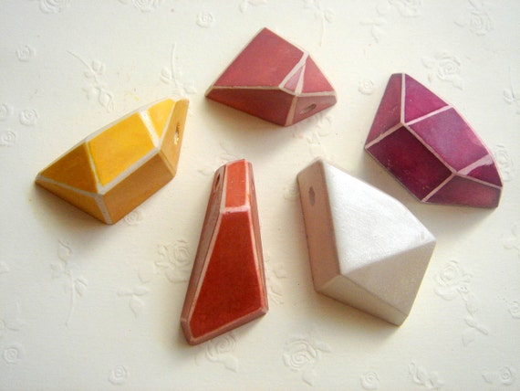Fall Colors  Geometric Faceted Clay Pendans,Do it Yourself  Geometric Jewelry,Hand Painted Ceometric beads