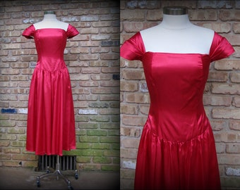 Vintage Formal Dress | 1950s | Red Satin Party Dress | Medium