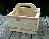 Adorable Unfinished Decorative Wooden Basket with Handle