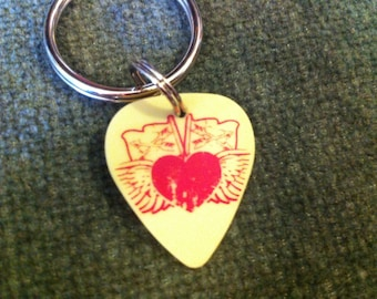 yellow & red guitar pick earrings - heart/flags