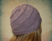 Purple Spiral Knit Beanie