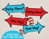 Whimsical Blue and Red Rhyming Printable Party Arrow Signs 4 Phrases Plus Hats