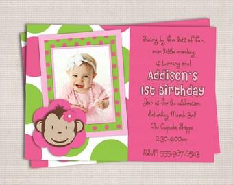 Girl's Custom Pink & Green Polka Dots Mod Monkey Birthday Party Printable Invitation
