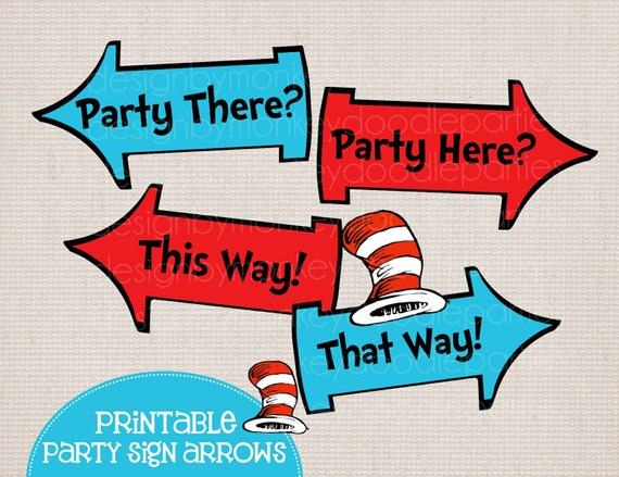 Whimsical Blue and Red Rhyming Printable Party Arrow Signs 4 Phrases ...