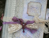 Unique Lavender themed Wedding Guest Book - vintage style