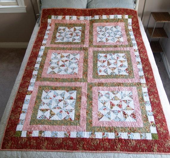 SALE - Pink and Green Quilt