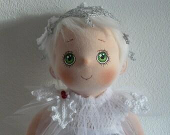 """Kersti, a Soft Cloth Art Doll, """"Little Winter Forest girl"""""""