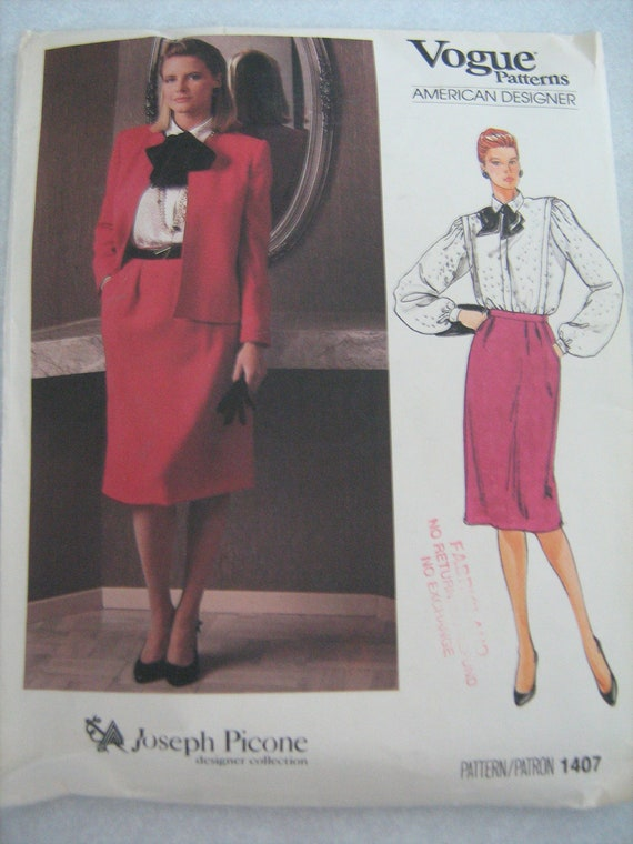 VOGUE, American  Designer  Collection JOSPH PICONE ,  jacket, skirt, blouse    women,  sewing  pattern,  size 10  Uncut  factory folded 1407