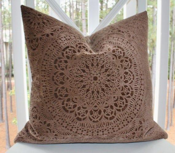 Decorative Designer Chocolate Brown Pillow - Brown Geometric Suzani Pillow Cover- Velvet Brown Throw Pillow