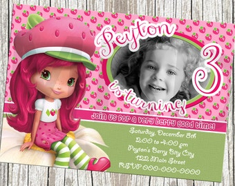 Strawberry Shortcake Birthday Invitation - With Photo