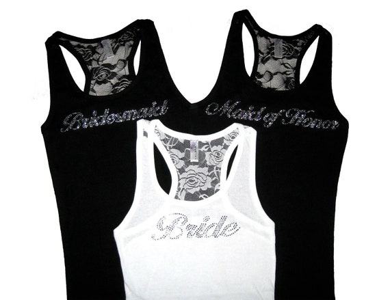 16 Rhinestone Wedding Party Lace Tank Top. Sizes Small to XXXL. Optional Wording: Bride. Bridesmaid. Maid of Honor. Matron of Honor.