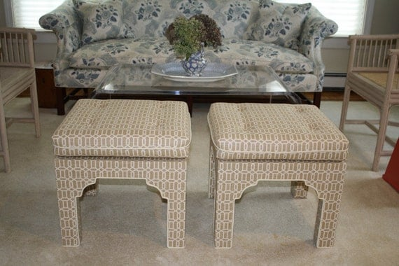 SALE Pair upholstered mid century style Moroccan bench stool ottoman geometric fabric reproduction beige