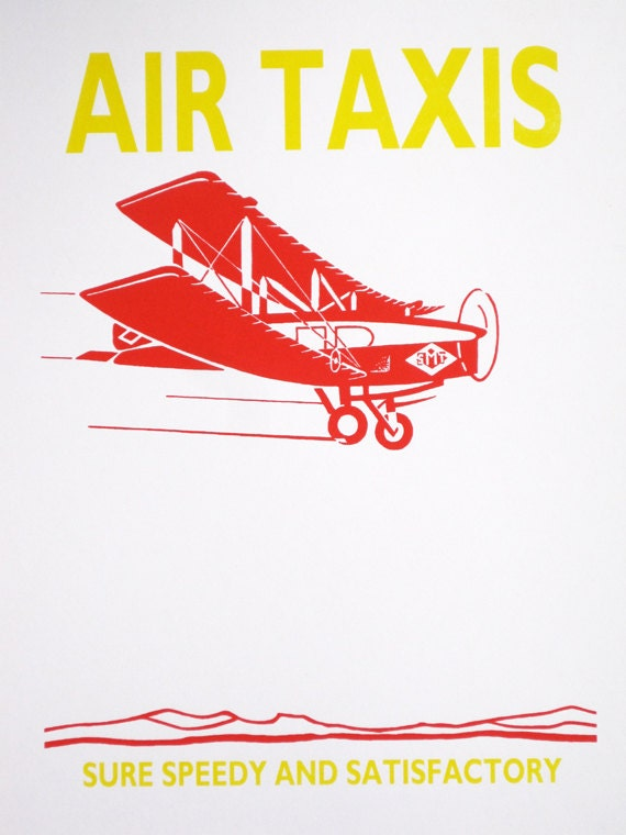 Red Biplane, Air Taxi - limited edition screenprint