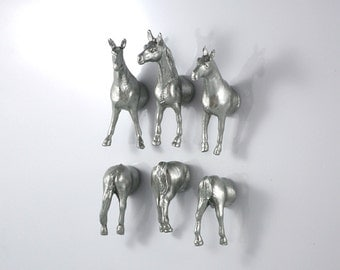 Horse Silver Magnets - boy magnets magnest Silver spooky horses for table decor