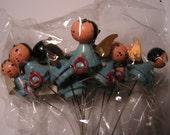 Vintage Miniature Angel, BLUE Angel, Vintage Craft Picks, Vintage Christmas Picks