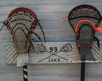 Lacrosse Stick Hanging Rack Sports Decor Organizer Custom Team Colors Personalized Lax Sport Wall Rack Athletic Room Display Handpainted