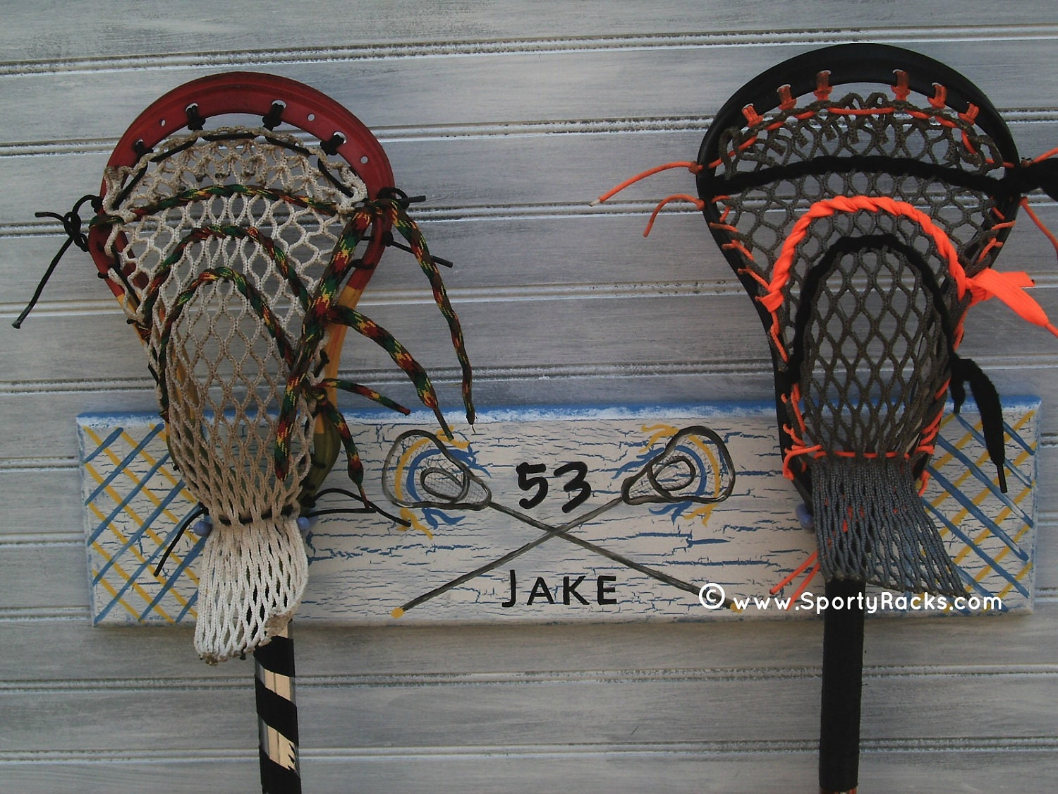 Lacrosse Stick Hanging Rack Sports Decor Organizer Custom Team