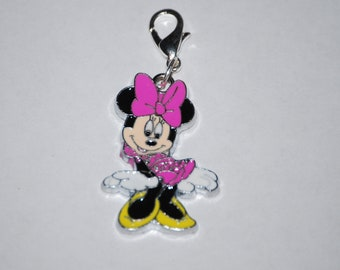 Disney Minnie Mouse in hot pink red blue Enamel Clip Charm, zipper pull, backpack, cell phone, purse clip, bracelet, necklace scrapbooking