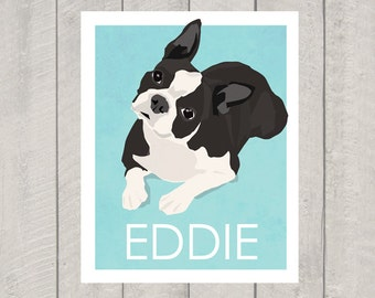 Boston Terrier Art Print - Custom Dog Art