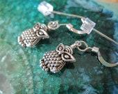 Silver Owl Earrings on Sterling Silver French Hook