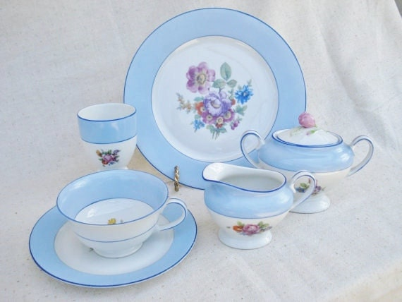Bohemia Porcelain Dinnerware / Wedding China / Czech Porcelain Dinnerware Breakfast Set