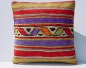 "MODERN Bohemian Home Decor,Kurdish Kilim  Pillow Cover  16"" X 16"",Vintage Kilim Pillow, Decorative Kilim Pillow,Throw Pillow"