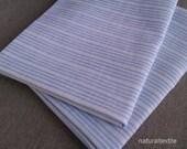 "Pair of 100% LINEN PILLOWCASES Flax STANDARD 20""x30"" (51x76 cm) - Blue Stripes"