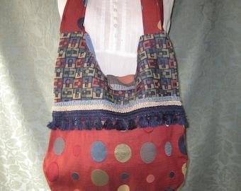 Sale Bohemian Bag Purse,  Gypsy Bag, Vintage Fabric purse,  Boho hippie Purse, polka dot bag