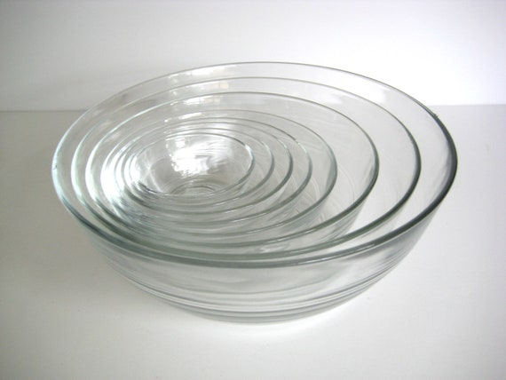 French nesting bowls, Duralex bowls, set of eight clear glass bowls, made in France