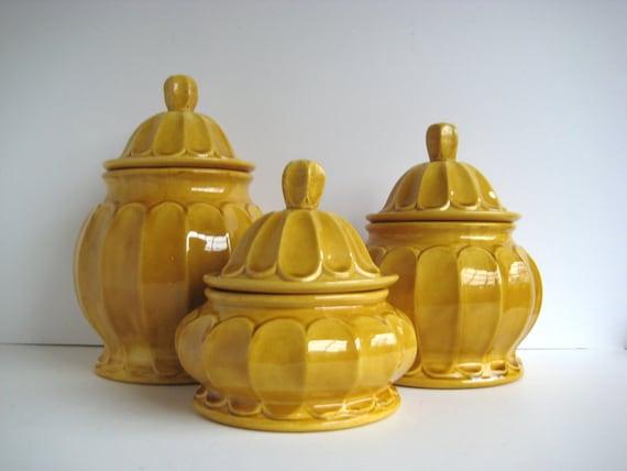 Mustard Canister Set Vintage Canister Set Ceramic Canisters