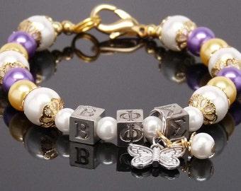 "BETA PHI SIGMA 8"" Beaded Bracelet with Sorority Greek Letters Gold Purple Accessory Gift"
