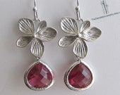 SALE 10% OFF: Flower Earrings Dangle Earrings Drop Earrings Ruby Glass Earrings Jewelry Gift