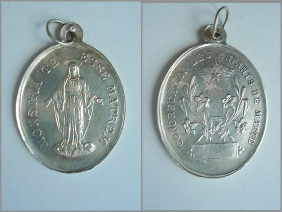 XXL  Antique solid silver (800) French Religious Miraculous Medal Children of Mary  1900'  old Pendant jewelry