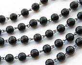 "18"" of 10mm Black Smooth Czech Glass Beaded Chain"