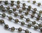 "18"" of 8mm faceted Czech Glass Smoke Quartz Beaded Chain"