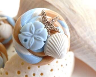 NOW 50% OFF!! Gold Glitter Starfish Sea Shell Swirl Ring