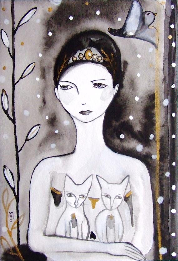 Woman Portrait Cats Original Painting Watercolor Ink Drawing Contemporary Art Bird Snow Decor Grey Black Gold Face Painting Woman Portrait