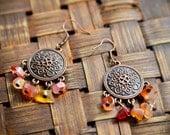 Ethnic Orange Red Carnelian Chandelier Earrings - Disk Earrings - Fall Colors Jewelry - PocketsOfArt