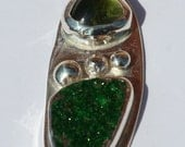 Sterling Silver, Green Tourmaline and Green Druzy Pendant