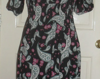 Black Paisley Dress UK SIZE 6 (XS)