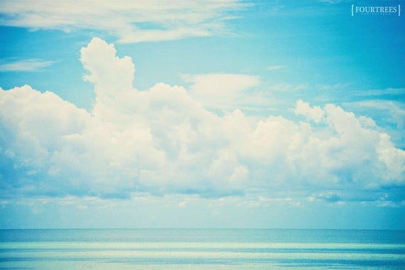 Cloud 9 - 8x12 Clouds over water ocean sea horizon photography print blue minimalists photo key west florida home nursery decor wall art