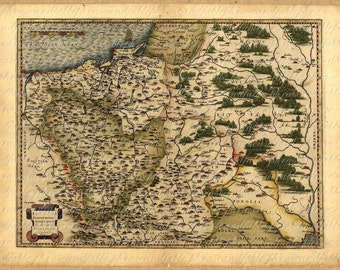 Map Of Poland From The 1500s 103 Ancient Old World Exploring Vintage Digital Image Download Travel International Warsaw Krakow Wroclaw