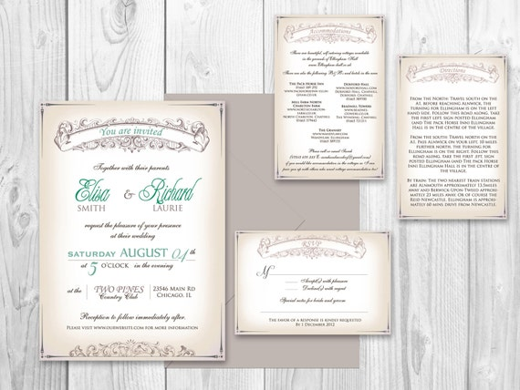 Wedding Invitations Indianapolis: Items Similar To Wedding INVITATION PRINTABLE Shabby Chic