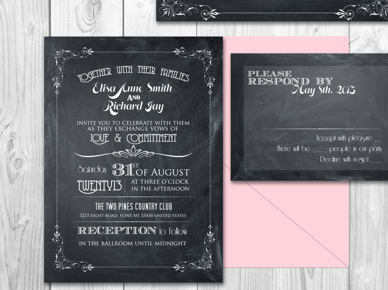 Chalkboard Wedding Invitations: Printable Chalkboard Wedding Invitation Suite By