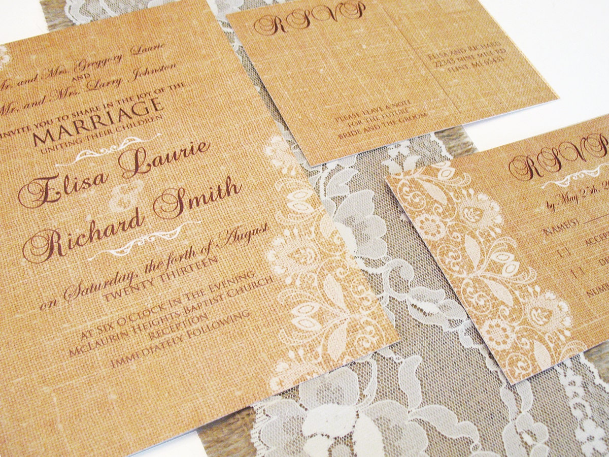 Wedding Invitations With Burlap: Lace And Burlap Wedding Invitations Rustic Wedding