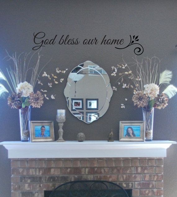 vinyl wall art god bless our home by soundsayings on etsy. Black Bedroom Furniture Sets. Home Design Ideas