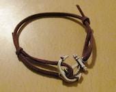 Purple Suede Adjustable Anchor Bracelet